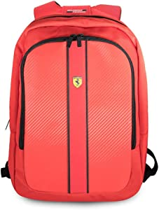 "Ferrari Laptop Backpack Pit Stop Collection Scuderia 15"" Nylon PU Carbon Dual Compartment for 15.6"" MacBook Pro Bag and a Slim-Fit Pocket for an iPad, iPad Mini, or Tablet up to 10.1'' (Red)"