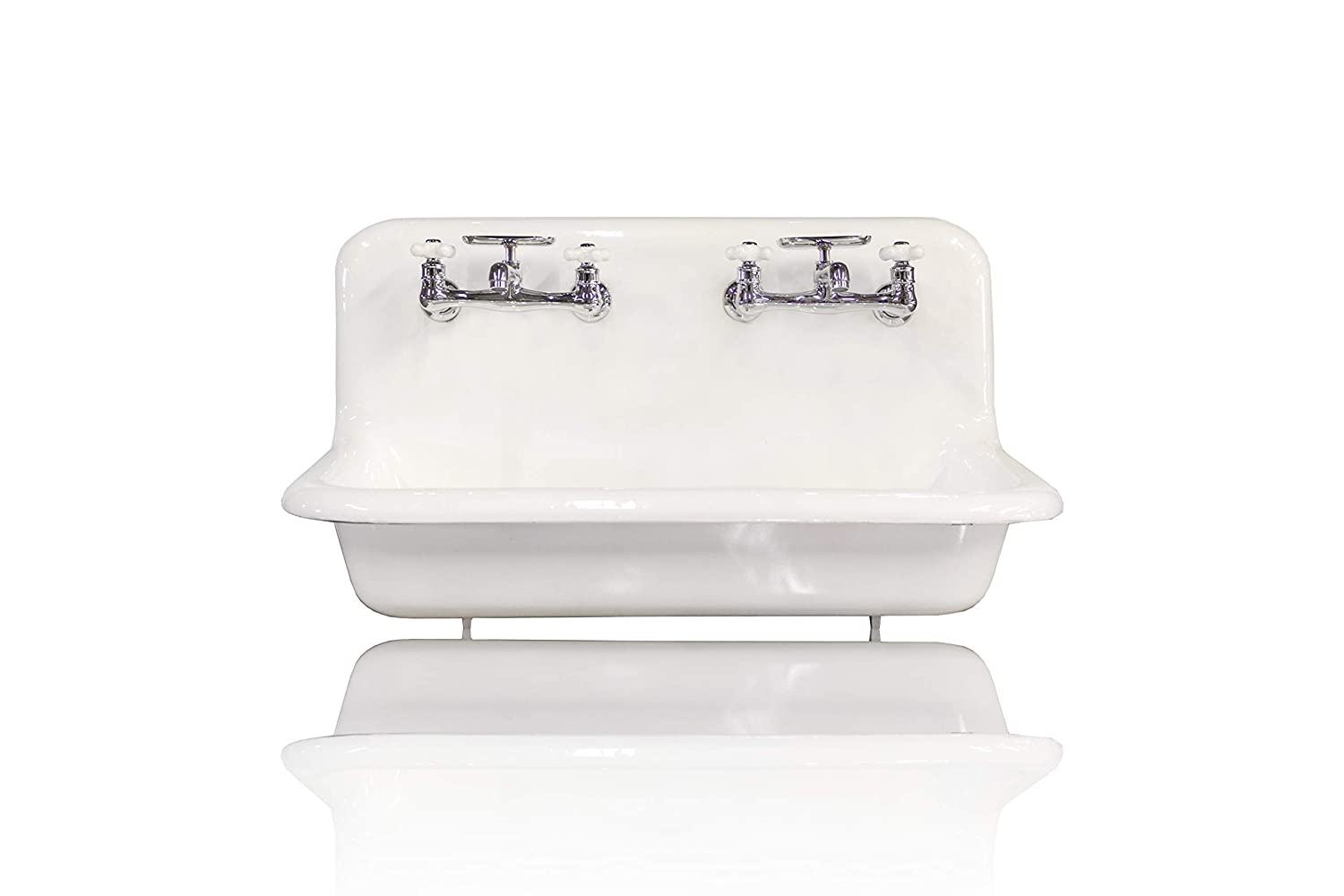 Amazon Com New 36 Antique Inspired High Back Farm Sink Cast Iron Original Porcelain Double Faucet Wall Mount Sink Package 3 5 Drain Bright White Handmade