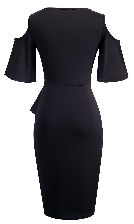 HOMEYEE Women's Elegant Round Neck Cold Shoulder Flared Sleeves Knee Length  Cocktail Dress B396: Amazon.co.uk: Clothing