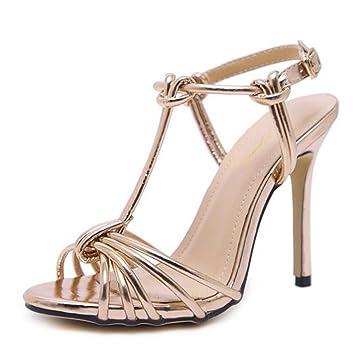 15cd94d129d408 LOHU Open Toe High Heels Sommer Damen Stiletto Heels Römische Sandalen  Schwarzes Gold Silber