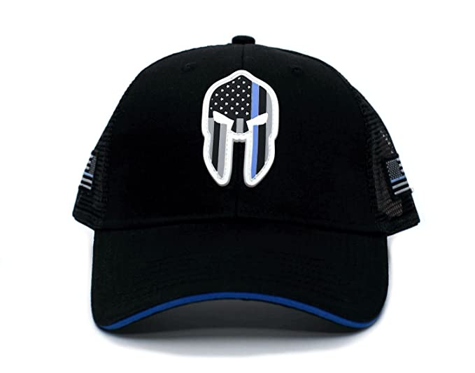 Image Unavailable. Image not available for. Color  Posse Comitatus Thin  Blue Line PVC Spartan Hat Truckers Cap Black a2076c136ee7