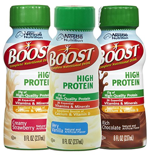 Boost High Protein Drinks 8 fl oz (3 Count) Variety Pack Strawberry, Chocolate, Vanilla Flavors Suitable for Celiac Disease and Lactose Intolerance with Electrolytes, Calcium, Vitamin D, - Pure Complex Super Carb