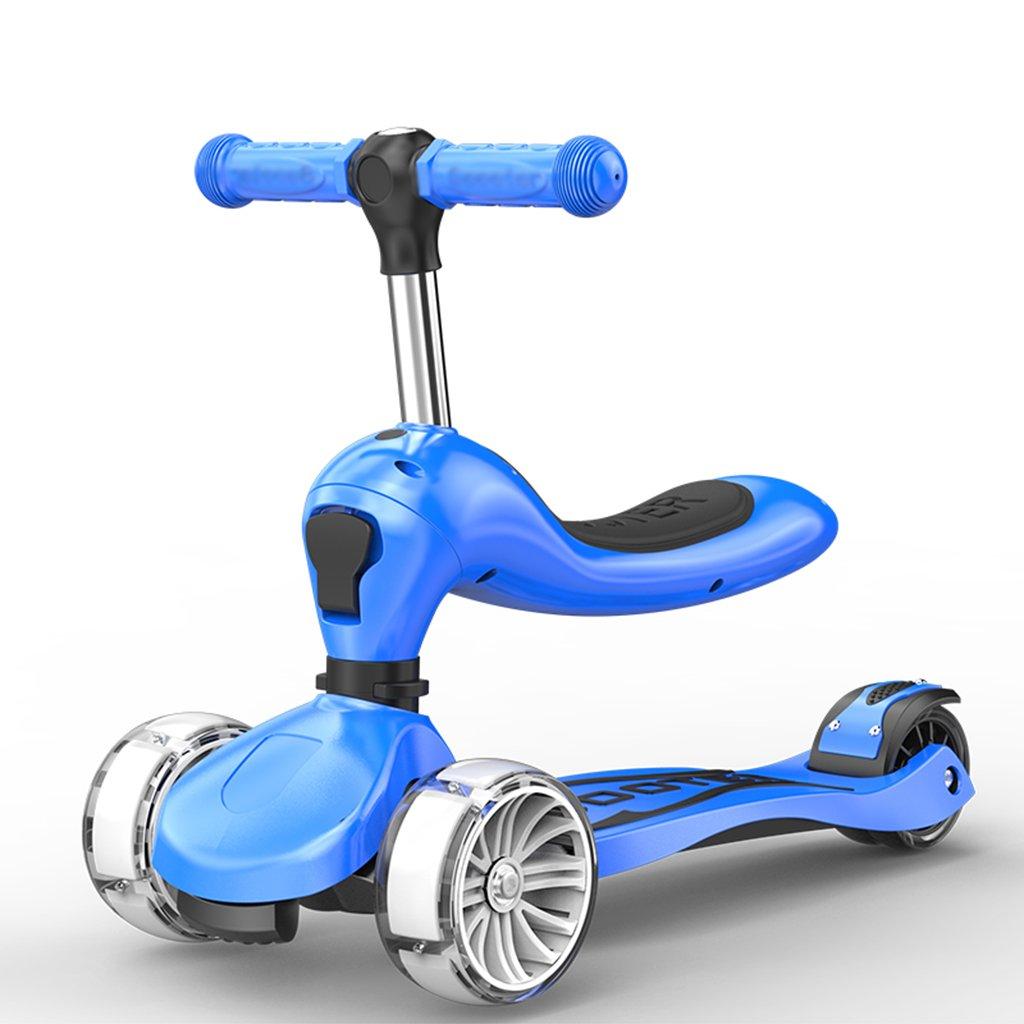 完璧 スクーターfoldable調整可能な子供foldableウォーカー多機能スライドの車のフラッシュpuの車は3-10歳に座ることができます Blue B07FYJM3DV B07FYJM3DV Blue Blue Blue, リュウジンムラ:06d33d29 --- a0267596.xsph.ru