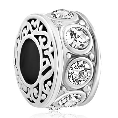 6090c8880 April Birthstone Filigree Spacer Charms Crystal Bead fit Bracelet ...