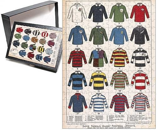Photo Jigsaw Puzzle of Some Famous Rugby Football Jerseys (Rugby Jersey Print)