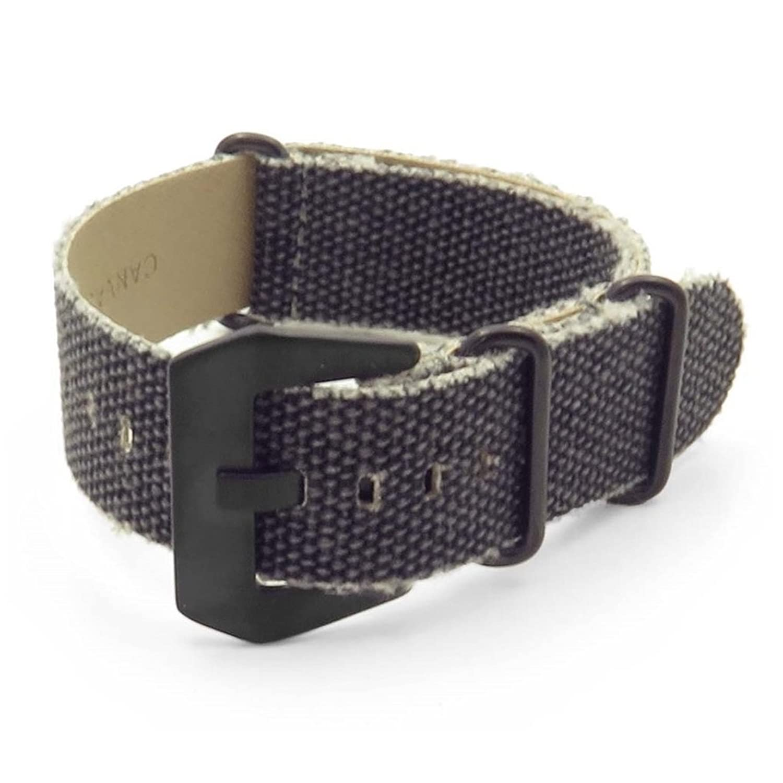DASSARI フレイドエッジ キャンバス ディストレスド NATO Zulu 時計ストラップ 木炭黒 / 黒 バックル 20mm  B019G4NRY6