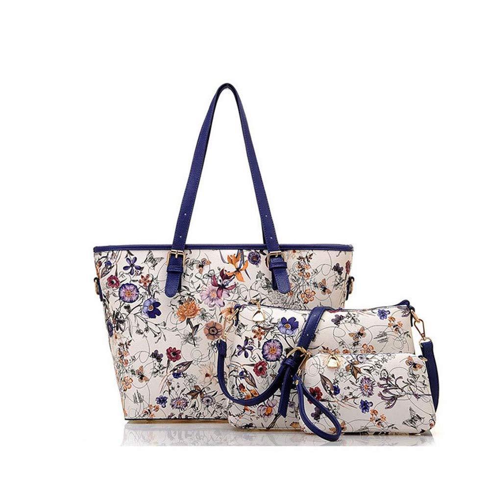 Amazon.com: Ladies Flower Printing Handbags Leather Composite Bag Women 3Pcs Shoulder Bags: Clothing