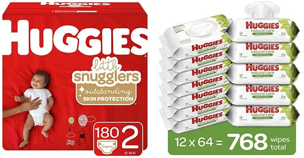 Bundle- Huggies Little Snugglers Baby Diapers, Size 2, 180 Ct, One Month Supply & Huggies Natural Care Sensitive Baby Wipes, Unscented, 12 Flip-Top Packs (768 Wipes Total)