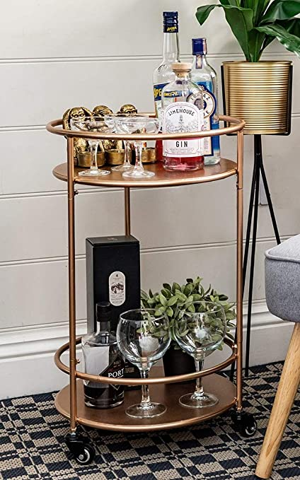 Rose Gold Drinks Trolley With 2 Tiers 30s Art Deco Vintage