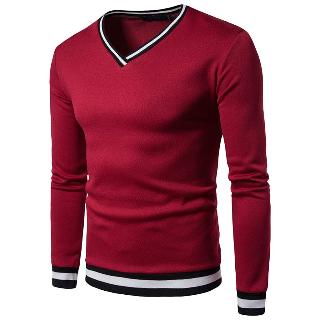 GREFER Men's Long Sleeve Top Silm Casual V Neck Patchwork Blouse T Shirt Red by GREFER