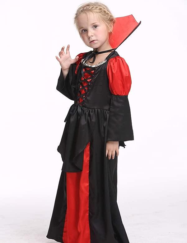 XINSH Disfraz Halloween Vampira Niña Cosplay Vestido Novia ...