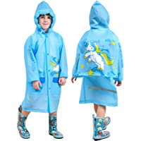 Chaqueta Impermeable para Niños Niñas Encapuchado Chubasquero Reutilizable Poncho Ligero Traje de Lluvia, Azul Unicornio