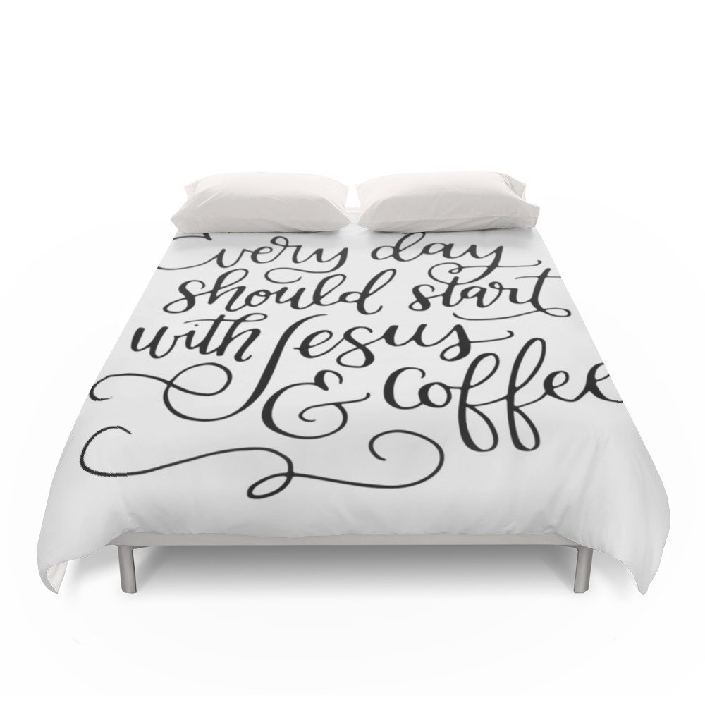 Society6 Every Day Should Start With Jesus And Coffee Hand Lettered Calligraphy Duvet Covers Full: 79'' x 79''