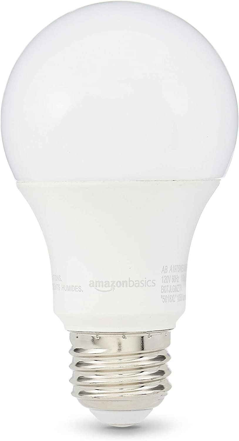 AmazonBasics 75W Equivalent, Daylight, Dimmable, 10,000 Hour Lifetime, A19 LED Light Bulb | 6-Pack