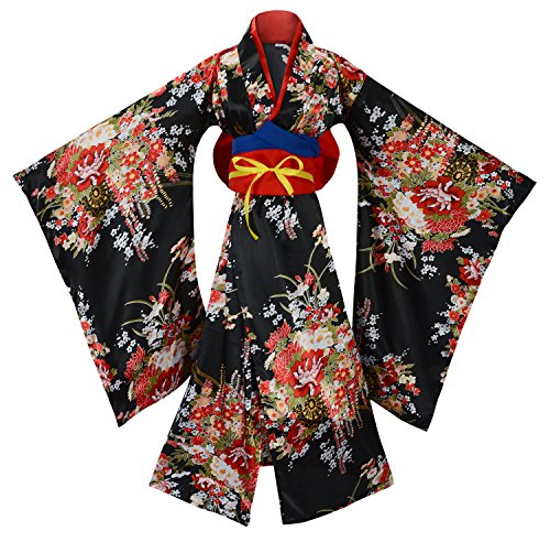 British Cultural Costumes (Sheface Women's Gorgeous Japanese Traditional Satin Kimono Robe Costume (X-Large, Black))