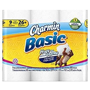 Amazon.com: Charmin Basic Toilet Paper, 9 Huge Rolls (Pack