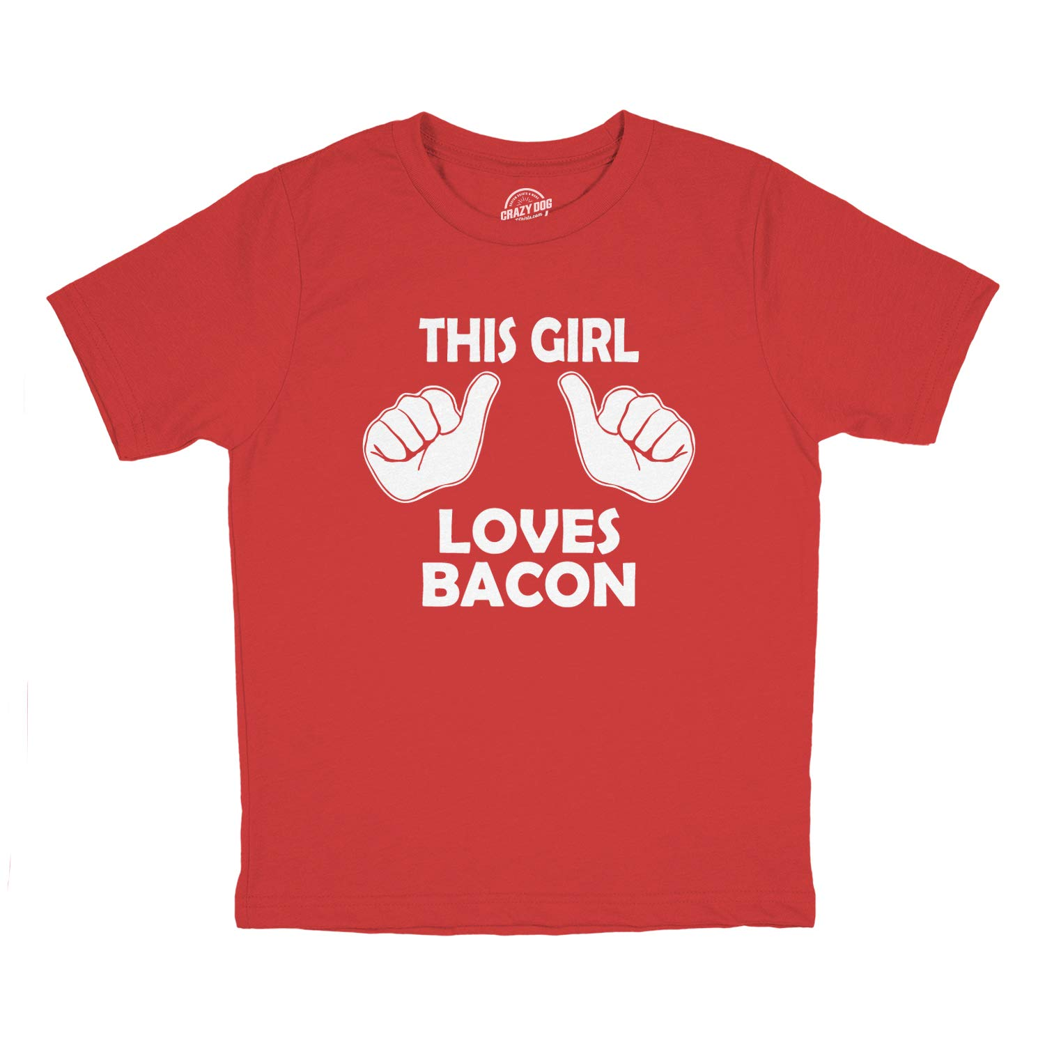 Kids This Girl Loves Bacon T-Shirt Funny Youth Shirt For Girls