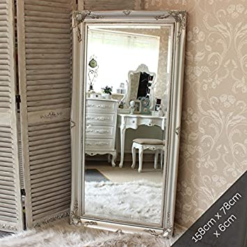 Melody Maison Large Ornate Silver Wall/Floor Mirror 158cm x 78cm ...