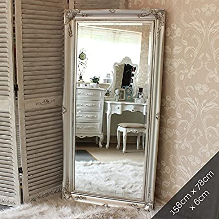 Large Ornate Silver Wall/Floor Mirror: Amazon.co.uk: Kitchen & Home