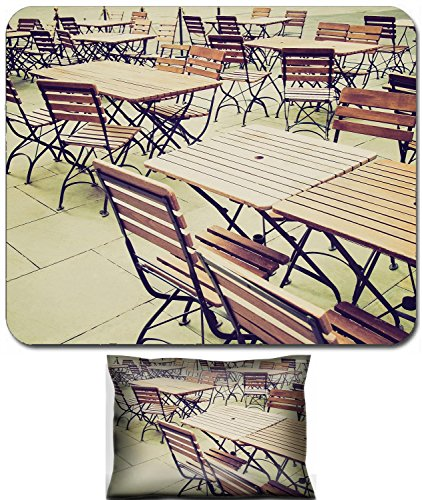 Luxlady Mouse Wrist Rest and Small Mousepad Set, 2pc Wrist Support design Vintage looking Tables and chairs of a dehors alfresco bar restaurant pub IMAGE: 27620877 -