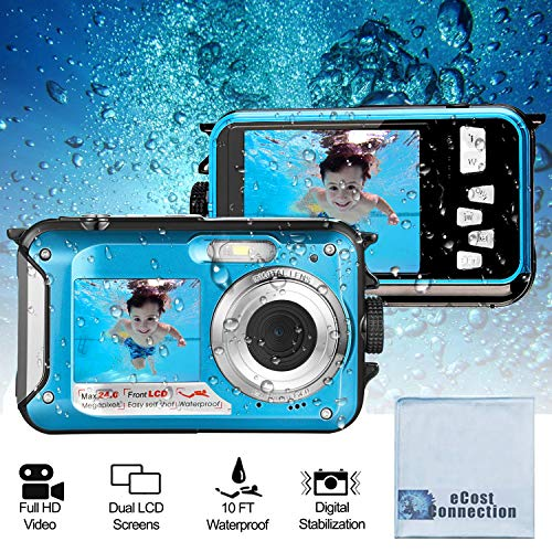 Acuvar 24MP Megapixel Waterproof Dual Screen Full HD 1080P Digital Camera for Under Water Photo and Video Recording for Selfies with LED Flash Light (Cyan) from Acuvar