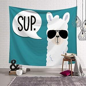 BOYOUTH Llama Tapestry Wall Hanging,Cartoon Alpaca Wearing Sunglasses Pattern Digital Print Art Wall Tapestry for Living Room Bedroom Dorm Decor,59.1 Inch by 51.2 Inch