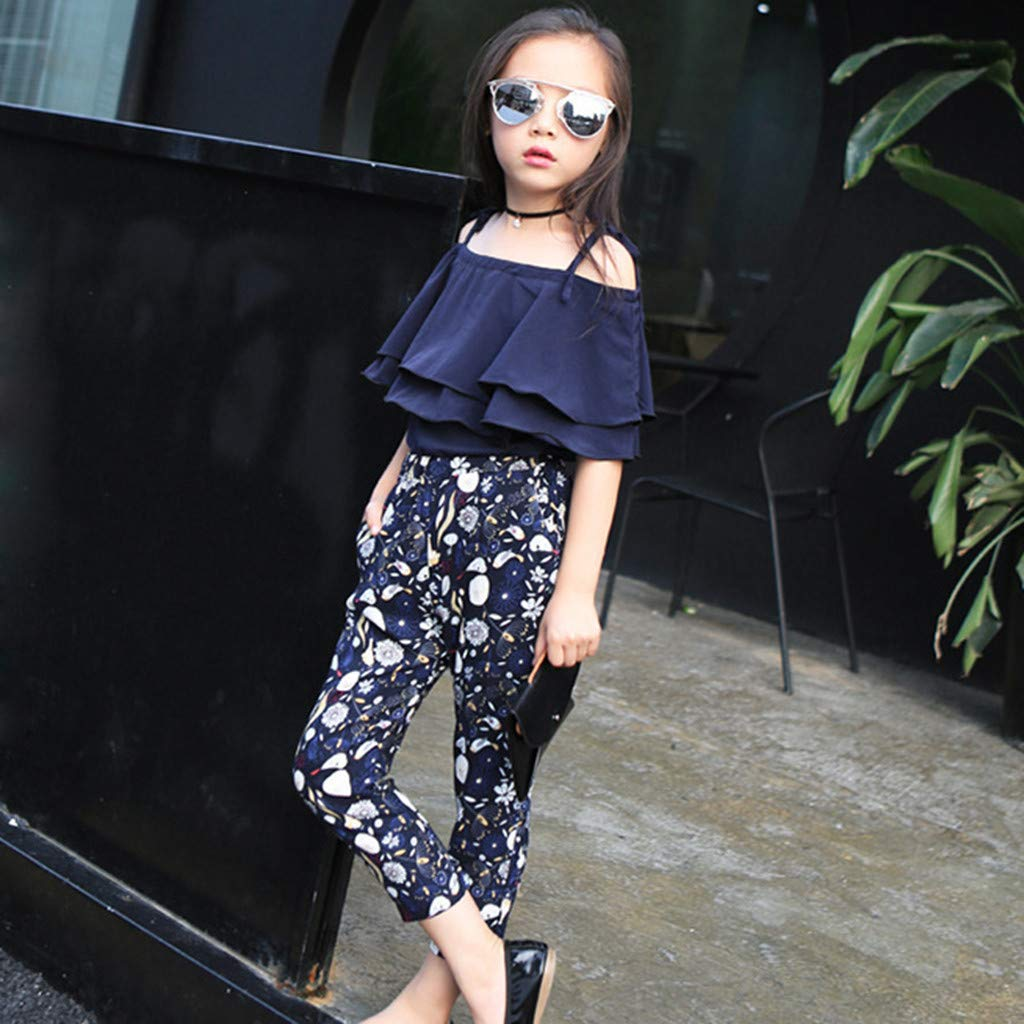 WOCACHI Toddler Baby Girls Clothes Kids Baby Girl Summer Outfits Off Shoulder T-Shirt Tops+Floral Pants Set