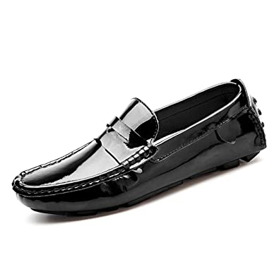 Gooceo Mens Flat Loafers Driving Doug Shoes Low-top Slip-On Patent Leather (