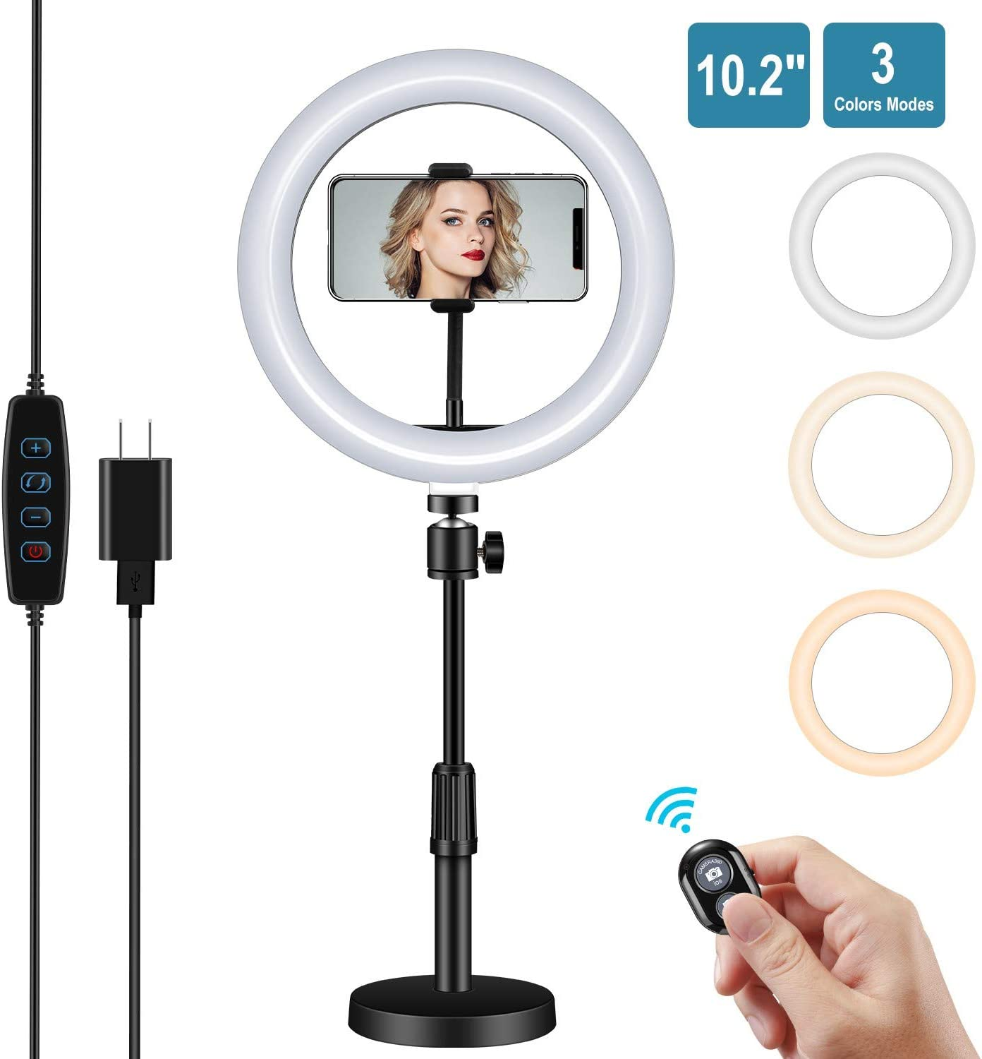 "10.2"" Desktop LED Ring Light, NovoLido 2-1 Selfie Ring Light & LED Desk Lamp with Phone Holder & Bluetooth Remote & Adapter, 3 Color Modes & 10 Brightness, 360° Rotating, Adjustable Bracket, 5W"