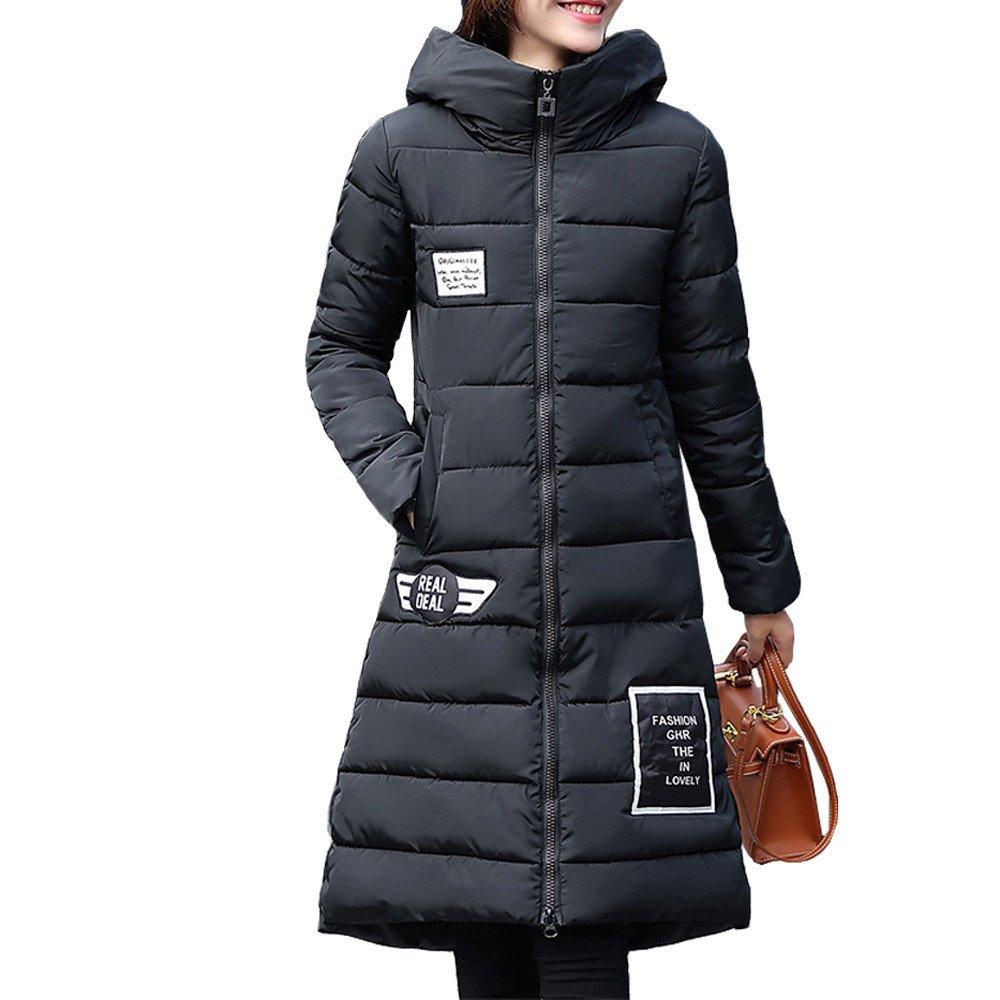 Amazon.com: AOJIAN Women Jacket Long Sleeve Outwear Puffer Hairball Hooded Patchwork Zipper Coat Black: Clothing