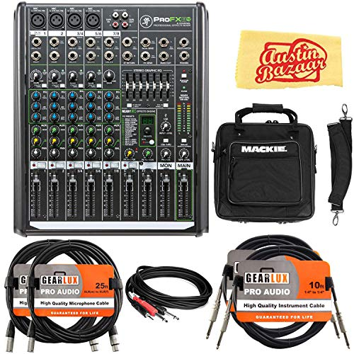 Mackie ProFX8v2 8-Channel Professional Effects Mixer with USB Bundle with Gig Bag, XLR Cable, Instrument Cable, Stereo Breakout Cable, and Austin Bazaar Polishing Cloth