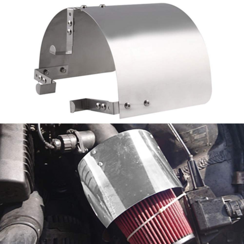 YOUNG4 Stainless Steel Racing Car Cold Air Intake Cone Sport Air Filter Cover Heat Shield For 2.5-5 Neck