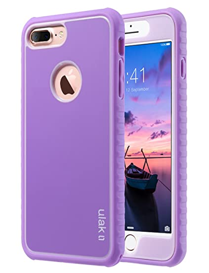 official photos 998f4 a5665 ULAK iPhone 7 Plus Case, iPhone 7 Plus Case Purple, Slim Shockproof  Flexible TPU Bumper Case Durable Anti-Slip Slim Front and Back Hard  Protective ...