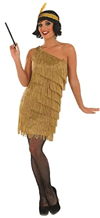 57fcae3eed7 Ladies Gold or Silver Tassled 1920s Great Gatsby Flapper Fancy Dress  Costume Outfit UK 8-26 Plus Size  Amazon.co.uk  Clothing