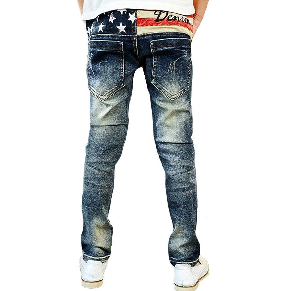 Tortor 1Bacha Boys Pull-On Jeans Elastic Denim Distressed Holes Pants Dark Blue