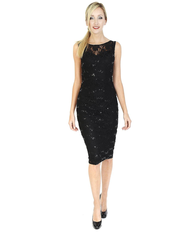 Signature Midi Sleeveless little black dress Scoop neckline Party, cocktail Lace & Sequin Black Party Dress