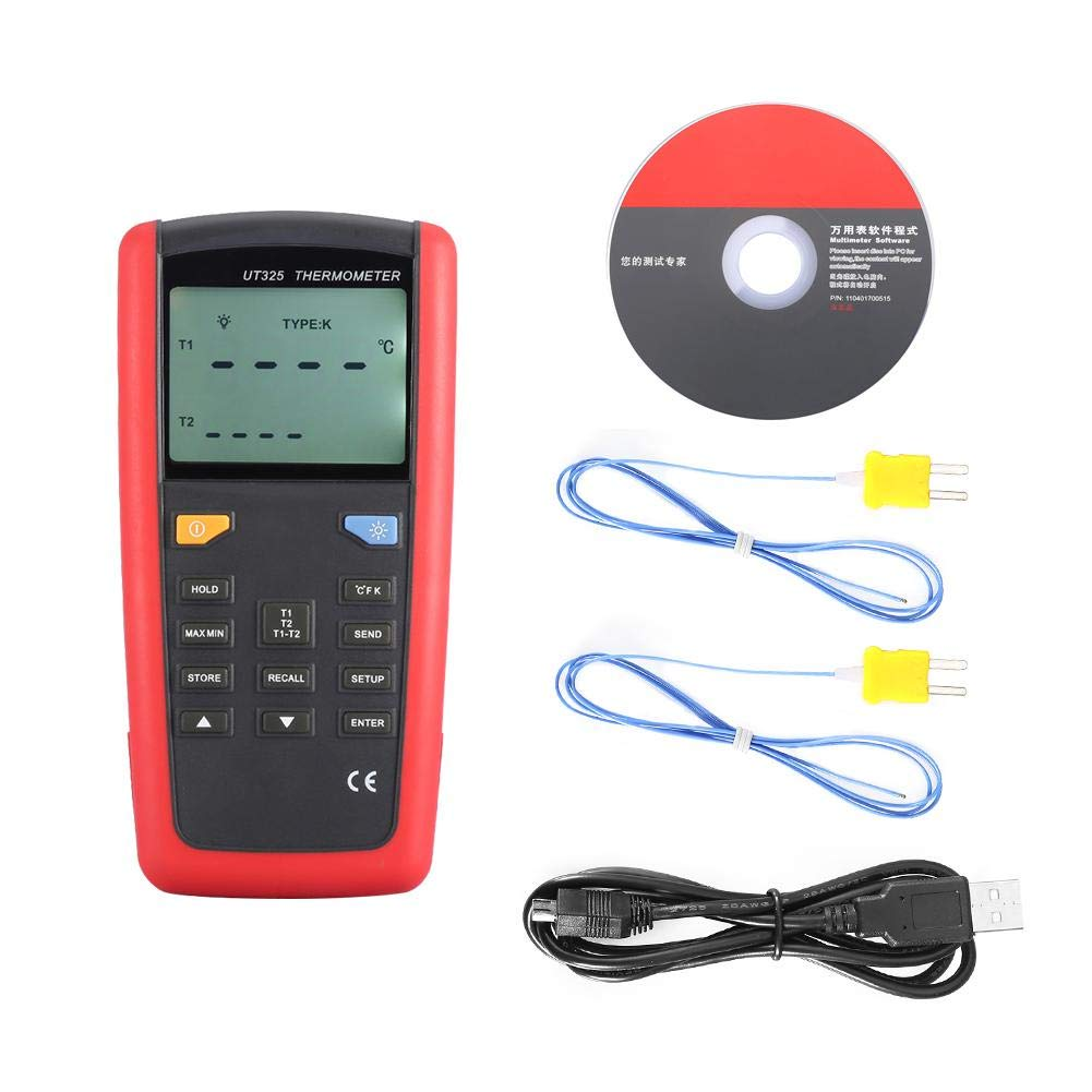 UT325 LCD Display Contact Type Digital Thermometer with K Type Temperature Probe