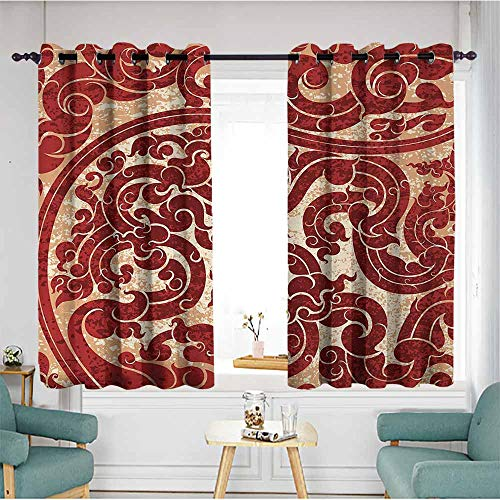 duommhome Antique Drapes for LivingRoom Thai Culture Vector Abstract Background Flower Pattern Wallpaper Design Artwork Print for Living, Dining, Bedroom (Pair) 55