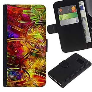 All Phone Most Case / Oferta Especial Cáscara Funda de cuero Monedero Cubierta de proteccion Caso / Wallet Case for Samsung Galaxy S6 // Crazy Random Art Colorful Lines Pain Brush