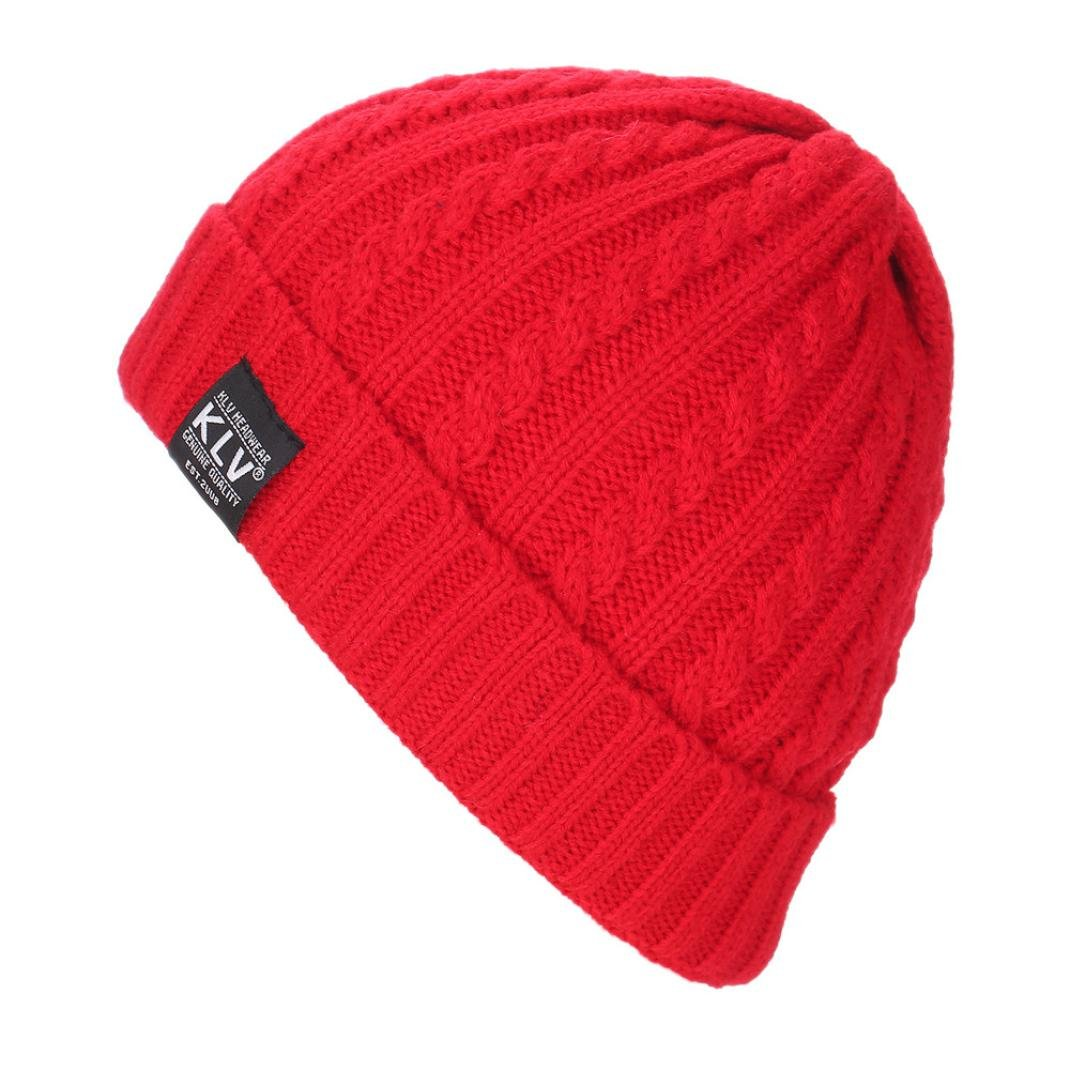 Hmlai Knit Hat, Men Women Baggy Warm Crochet Winter Wool Knit Ski Beanie Skull Slouchy Caps Hat (Red)