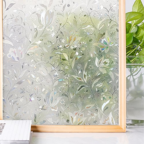 Homein Window Films 3D Flowers Film Decoration For Window Privacy Film Static Non-Adhesive Heat Control Anti UV 35.4In. By 78.7In. (90 x - Shades Ltd Sunny