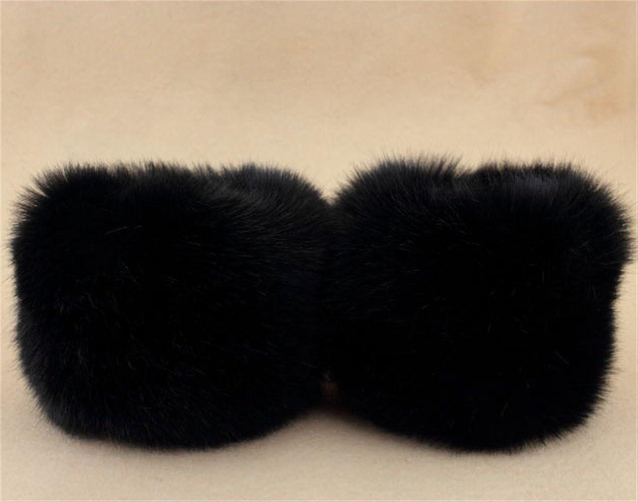Faux Fox Fur Wrist Band Warm Arm Warmer Fluffy Wrist Warmer Fashion Cuffs Black