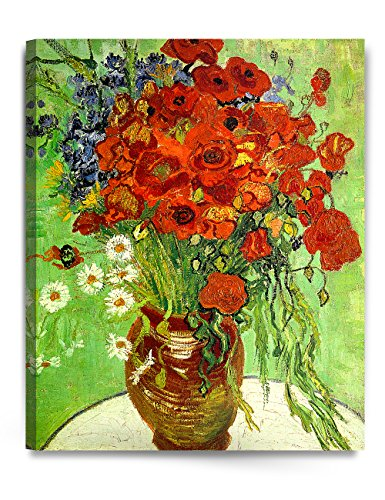 DecorArts - Red Poppies and Daisies, Vincent Van Gogh Art Reproduction. Giclee Canvas Prints Wall Art for Home Decor (Canvas Floral Print)