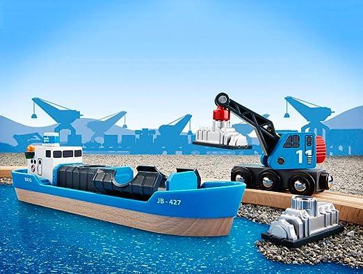 Brio Nave Container con Carro Gru 4 Pezzi Accessorio per Ferrovia di Legno 33534