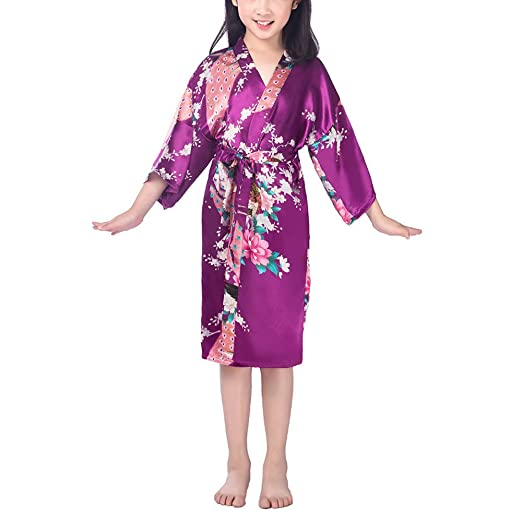 f98a9307a6cd Amazon.com  Xixiuly Teen Girl Cute Peacock Satin Pajamas Nightgown ...