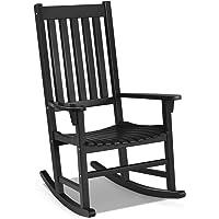 Giantex Rocking Chair Acacia Wood Frame Outdoor& Indoor for Garden, Lawn, Balcony, Backyard and Patio Porch Rocker (1, Black)