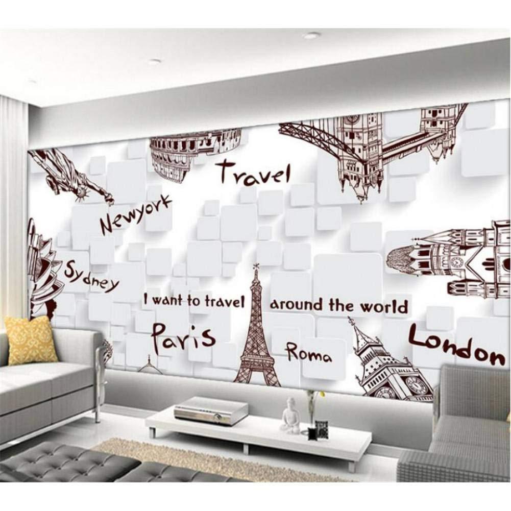 mejor calidad 250x175cm YYBHTM Fondo De Pantalla Pintado A Mano Mano Mano Edificio De Turismo Fondo De TV TV Parojo Dormitorio Dormitorio Papel Tapiz Mural  ventas en linea