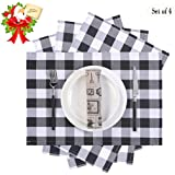 SANMADROLA 4pcs Buffalo Plaid Placemats 13 x 18 Inch Buffalo Check Placemats, Christmas Placemats for Holiday Christmas Table Decorations (Black and White)