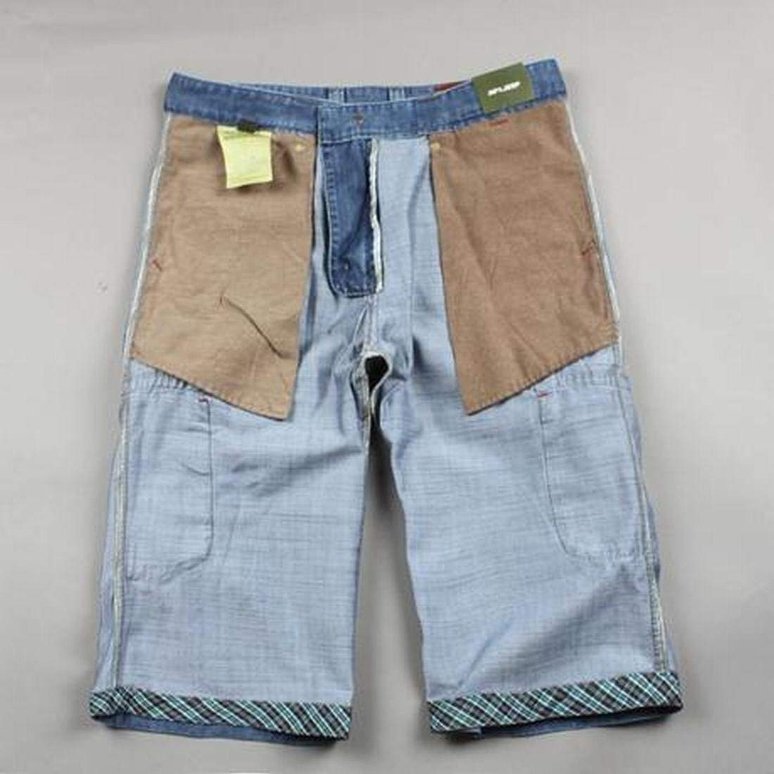 SELX Men Plus Size Outdoor Multi-Pockets Relaxed Fit Denim Shorts Jeans