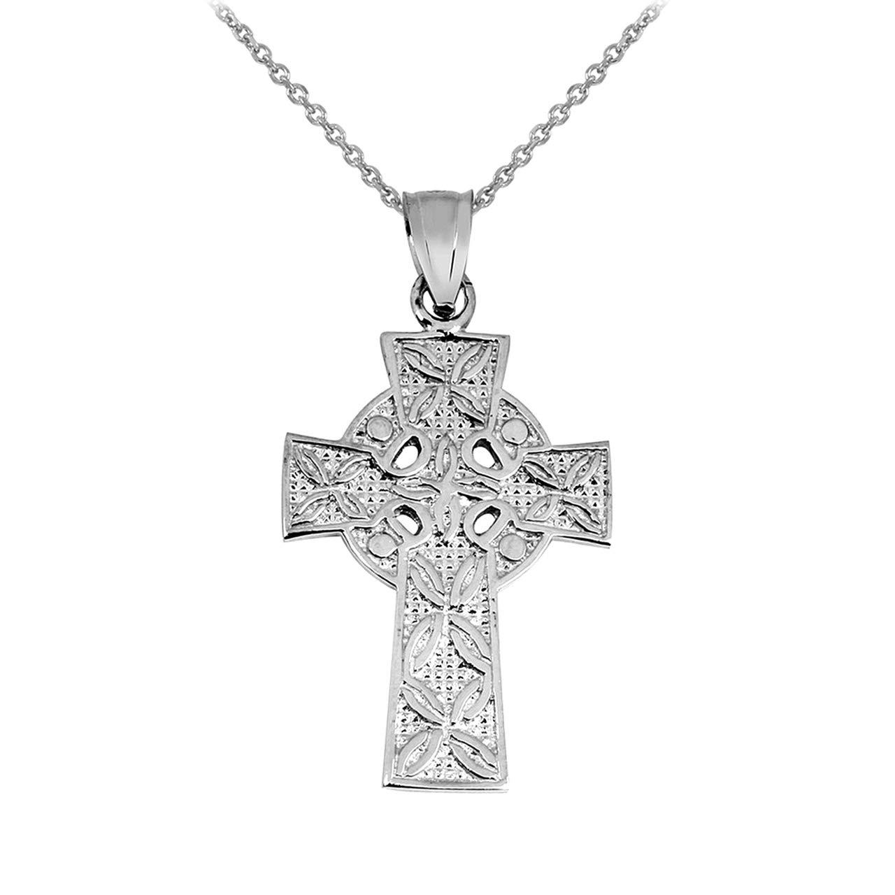 Solid 14k White Gold Irish Celtic Cross Trinity Pendant Necklace, 20''